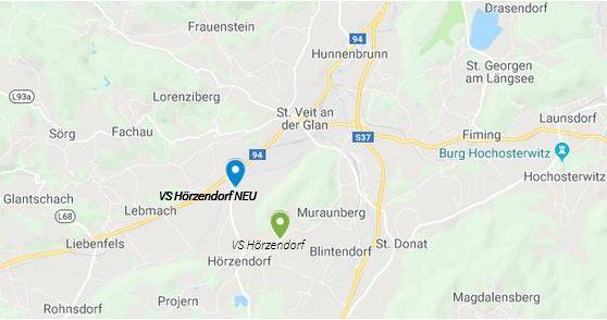 Goolge Map mit den Standorten der aktuellen Volksschule Hörzendorf in Arndorf 5 und dem neu geplanten Standort in Unterbergen 2.