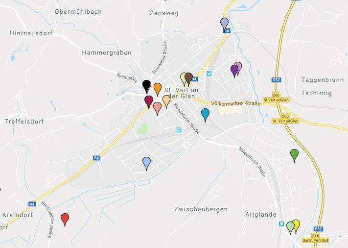 Google-Map Standorte der Wahlsprengel der Stadtgemeinde St. Veot an der Glan für die EU-Wahl 2019.